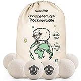 Trocknerbälle für Wäschetrockner - Der Natürliche Weichspüler aus 100% Schafwolle - [6x] XXL Trockner Bälle für Daunenjacken- Wäsche-bälle aus Wolle als Weichspüler Daunen- XXL Filz-Bälle