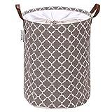 Sea Team Marokkanisches Gittermuster Wäschekorb Leinwand Stoff Wäschekorb Faltbarer Aufbewahrungsbehälter mit PU-Ledergriffen und Kordelzugverschluss, 17,7 x 13,8 Zoll, wasserdicht innen
